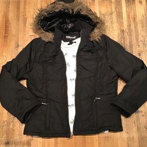 Black puffer jacket w/ faux fur trim hood